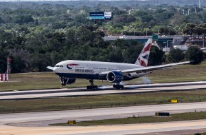 British Airways Boeing 777 touching down at TPA.
