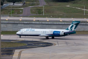 An AirTran 717 taxiing for departure at TPA.