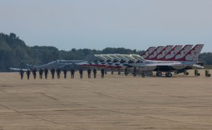 Pilots and crew of the USAF Thunderbirds at the 2012 Great State of Maine Airshow.