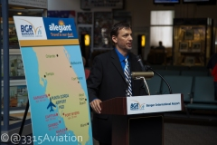 Bangor International Airport Manager Tony Caruso announcing expanded Allegiant service to Punta Gorda, Florida.