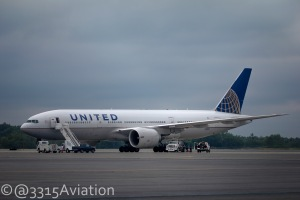 A United Boeing 777-200 sits on the ramp in Bangor after diverting due to bad weather in Newark.