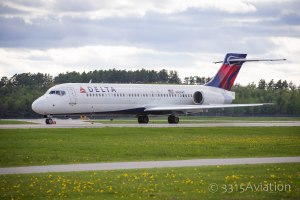 A Delta Boeing 717 taxiing for departure from Bangor International Airport bound for Detroit. last summer