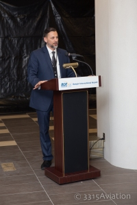 BGR Director Tony Caruso welcomes guests to the terminal upgrade reveal.