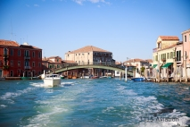 Water taxi ride through Murano on our way to the hotel in Venice.