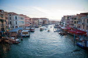 The Grand Canal from the Rialto Bridge.