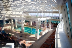 Solarium with indoor pool area and snack bar.