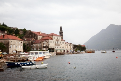 Perast in the rain.