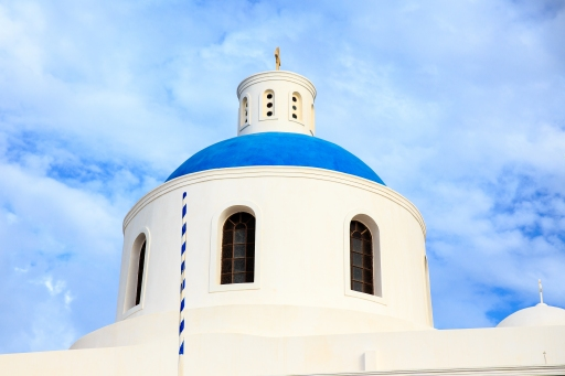 One of the famous blue domed churches on Santorini.