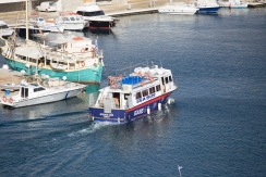 The water taxi from the cruise port into the center of town in Mykonos.