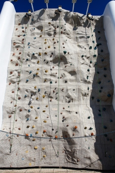 Outdoor climbing wall on the back of the boat.