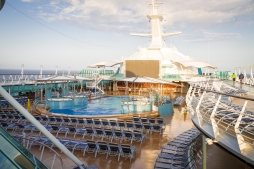 Looking down from the top deck to the pool.